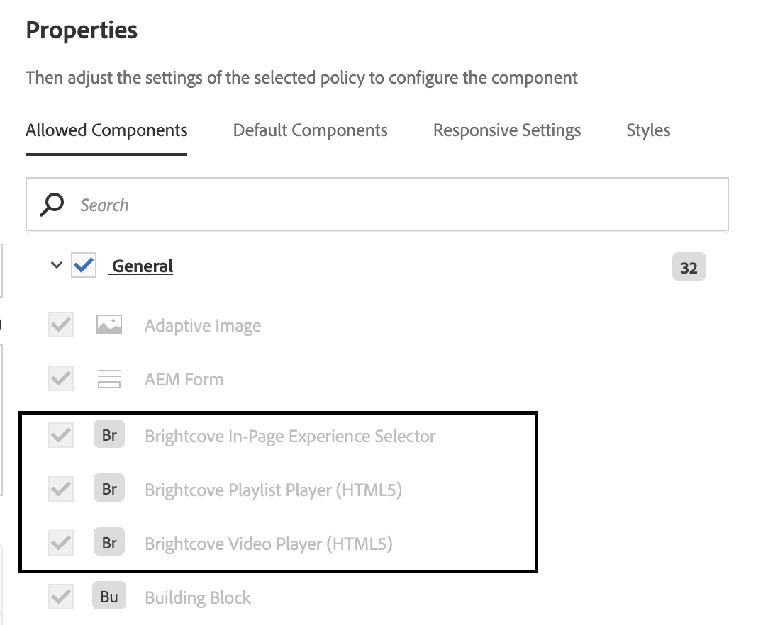 Allow Brightcove Player Components