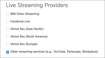 Live streaming providers