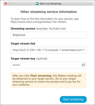 Streaming information