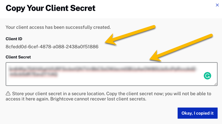 Client ID and Client secret.